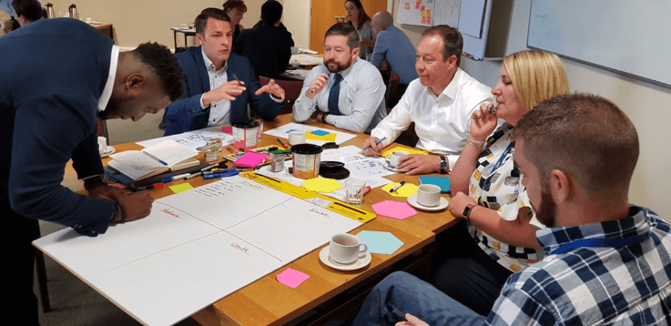 Delegates from different organisations collaborating on digital strategy at Northumbrian Water's facilitated design sprint