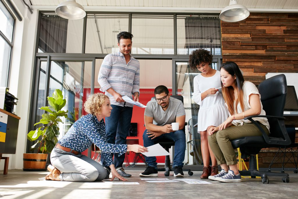 Collaborative creative team working