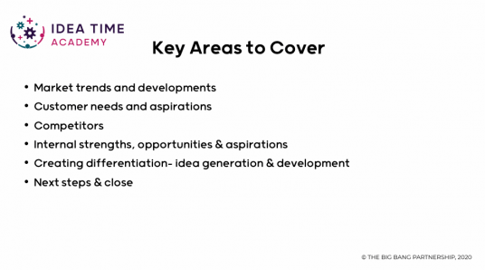 List of key areas to cover when facilitating a business growth workshop