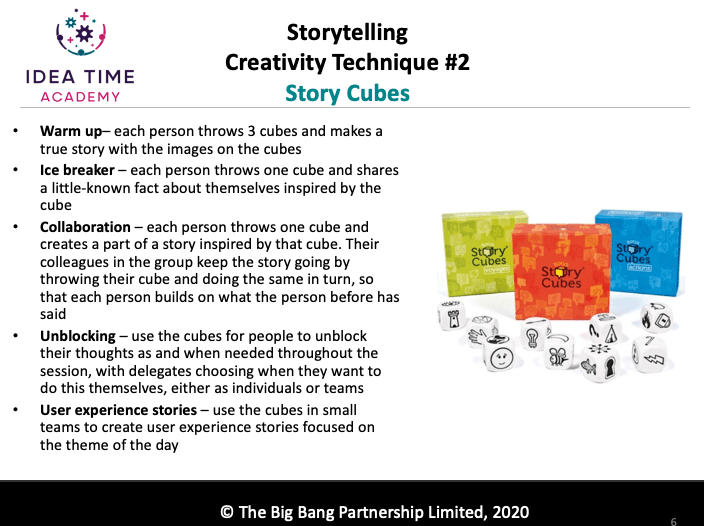 Guidance on how to use story cubes