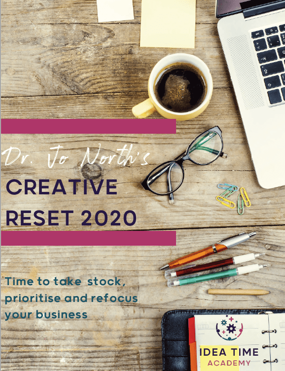 cover of creative reset playbook with coffee, laptop, organiser