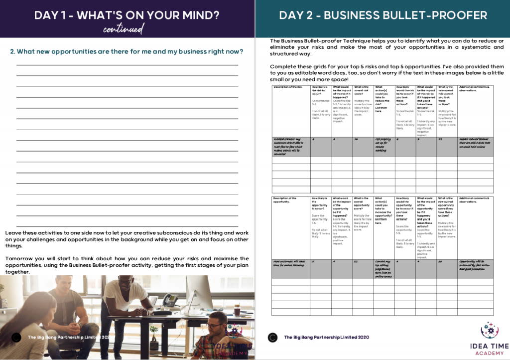 Sample pages What's on your mind? and the Business Bullet-Proofer inside spread from the Creative Reset Playbook