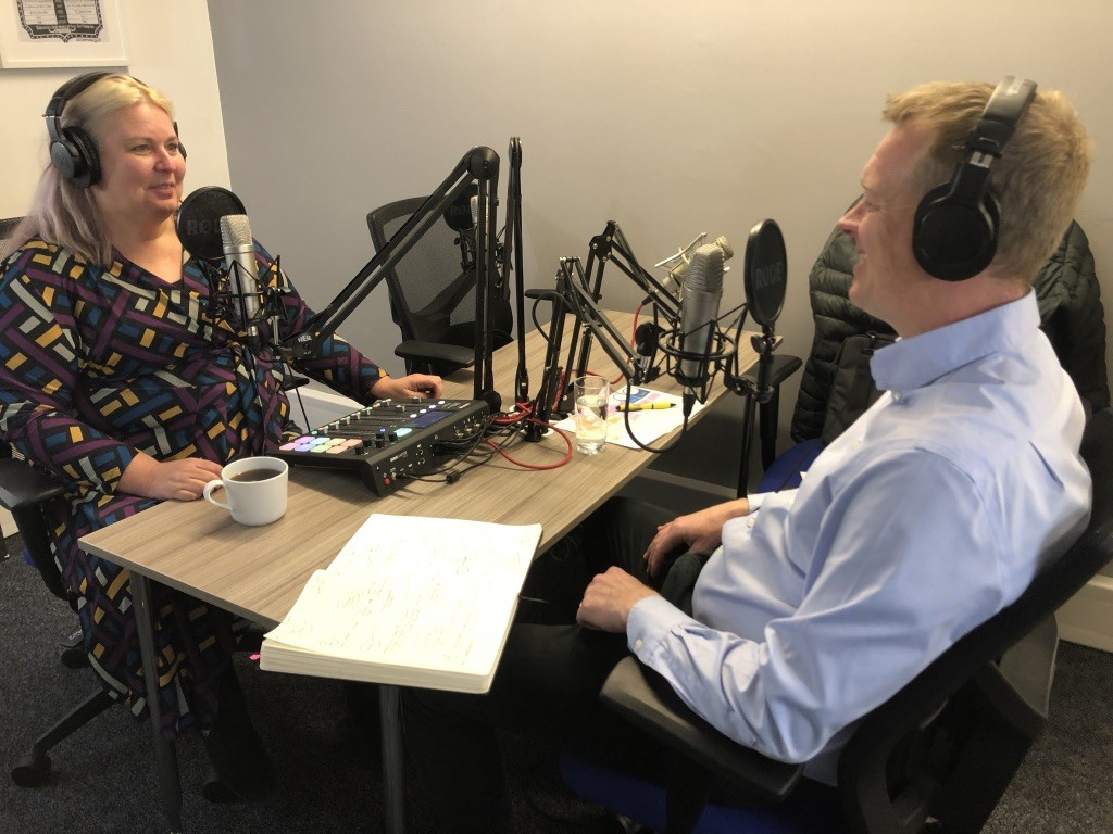 Dr. Jo North and Paul Slater in the studio recording the Idea Time podcast
