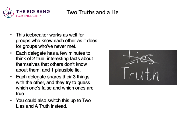 Slide showing how to run two truths and a lie activity as an icebreaker for online meetings