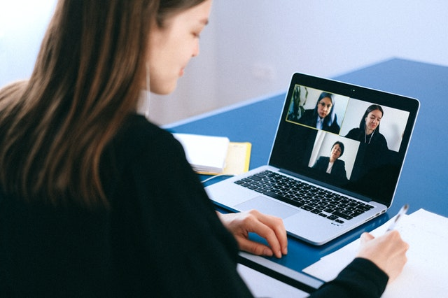 Woman leading virtual meeting