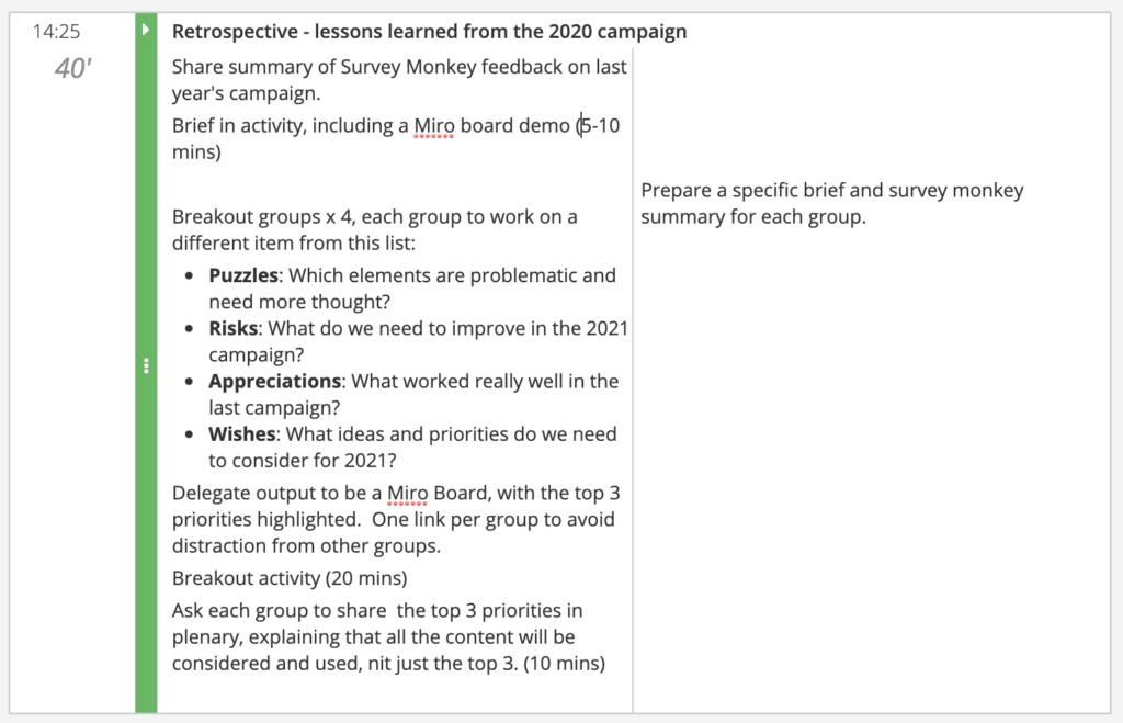 How to design a virtual innovation sprint agenda segment retrospective activity